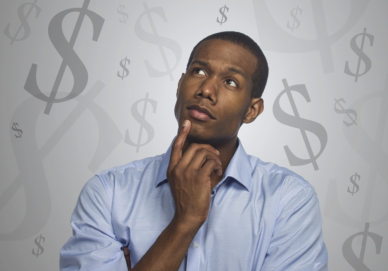 man thinking money